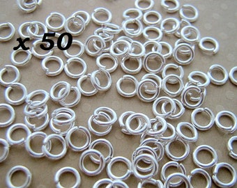 Set of 50 silver jump rings 5 x 1 mm - AA51 0168