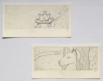 The Tortoise and The Hare Etching Duo Set of Two
