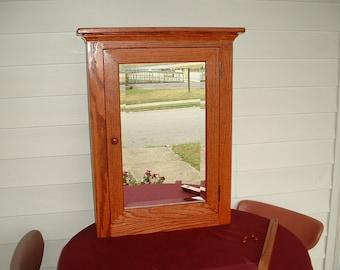 Medicine Cabinet Solid Oak Crown Top Beveled Mirror