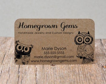 Eco business cards etsy recycled kraft brown business cards modern cute owls calling cards mommy cards display colourmoves