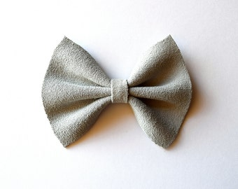 Light Grey SUEDE Leather Bow Clip for Newborn Baby Child Little Girl Photo Prop Adorable Beautiful Holiday Fall Christmas Headband