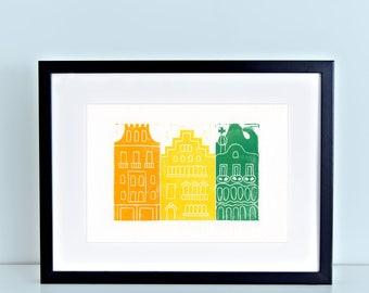 Barcelona Linocut Block Print Gaudi Casa Batllo Block of Discord 8x10 4x6 artwork green yellow orange architecture antoni gaudi spain