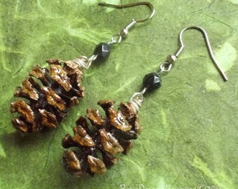 Redwood Pinecone with Black Crystal Earrings #65-24