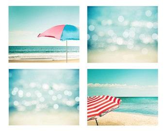 nautical nursery art beach umbrellas print beach print abstract art beach photography ocean bokeh photography coastal aqua teal blue pastel