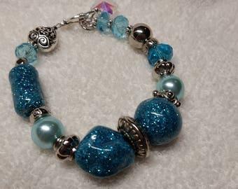 """Bracelet - Teal & Silver - 8"""""""