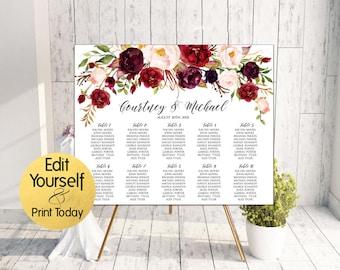 Marsala Seating Chart Template, Editable Seating Chart, Burgundy Wedding Seating Chart, Wedding Seating Board, DIY Seating Chart, W2
