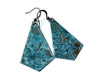 Blue Patina Earrings, Long Patina Statement Earrings, Copper Earrings, Geometric Earrings, Gypsy Earrings