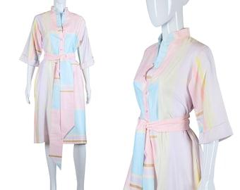 Catherine Ogust Dress 70s Pastel Dress Casual Shirt Dress Penthouse Gallery Dress 1970s Belted Dress Abstract Print Dress