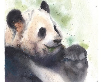 PANDA PAINTING - watercolor panda bear, original watercolor, panda artwork, panda decor, giant panda painting, panda wall art, panda love