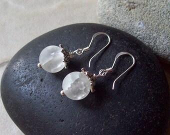 Quartz Crystal Earrings -NOVA  Dangle Birthstone Beaded Earrings with Sterling Silver
