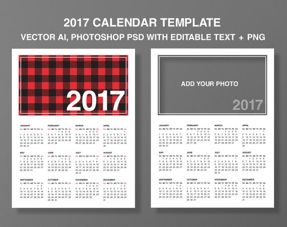 Items Similar To Calendar 2017 Templates Add Your Photo Photoshop