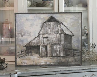 The Barn, Printed on Wood, Barnwood Framed Rustic Farmhouse by Debi Coules