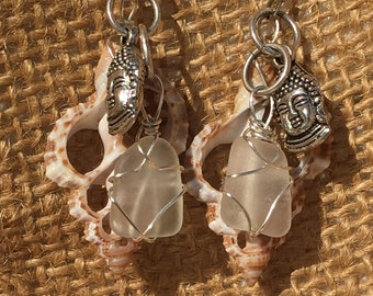 Sea Glass, Shell, and Buddha Earrings
