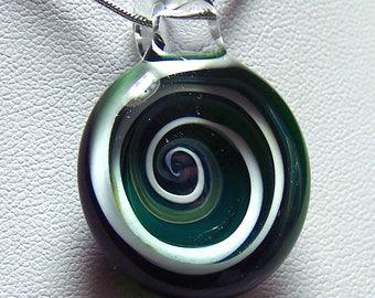 Dark green and white sparkle 3D spiral whirlpool - glass lampwork vortex pendant