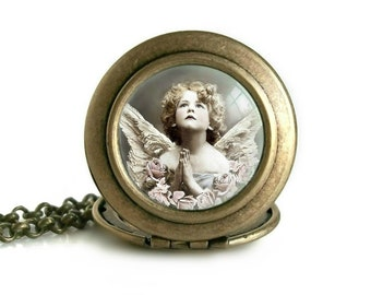 Angel Photo Locket Pendant | Antique Picture Necklace | Handmade Christian Jewelry