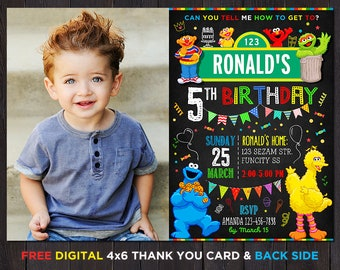 Sesame Street Birthday Invitation, Sesame Street Invitation With Photo, Sesame Street Party, Birthday Invitation For Boys With Picture