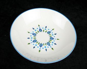 Vegetable Bowl, MarCrest Stetson, Swiss Chalet Alpine, Vintage 1960s Dinnerware, 9 Inch Serving Bowl, Blue Green Leaves Flowers White China