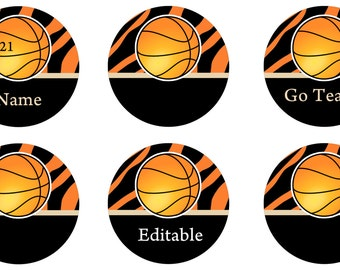 1 Inch Personalized Basketball Pins, Flat Back Buttons or Magnets 12 ct.