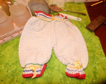 Vintage Handmade Crocheted Pantiloom Bloomers for Baby Small Pants Ribbon Drawstring