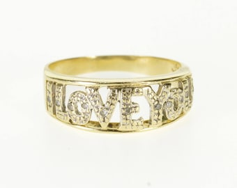 14k Diamond Encrusted I Love You Message Band Ring Gold