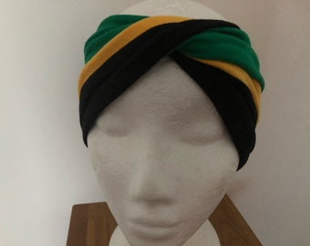 Jamaican twist front turban headband ( stretch jersey )
