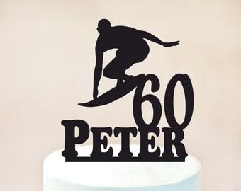 Surfing Cake Topper,Male Surfer cake topper,Surfing Birthday topper,Surfing celebration (1080)