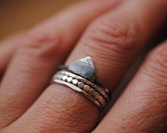 Small Darkened Mountain Ring | Sterling Silver
