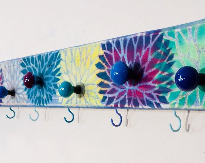 Bath Towel holder /bathroom storage /lotus flower yoga decor/ reclaimed wood art hanging wall rack organizer 10 hooks 9 hand-painted knobs