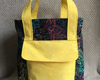 Blue Floral Batik Tote Bag