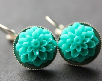 Turquoise Dahlia Flower Earrings. French Hook Earrings. Teal Flower Earrings. Lever Back Earrings. Handmade Jewelry.