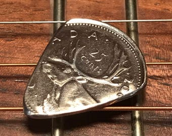 Hand Cut Guitar Pick From A Canadian Quarter