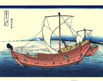 "Japanese Ukiyo-e Woodblock print, Katsushika Hokusai, ""Thirty-six Views of Mount Fuji, The Kazusa Province sea route"""