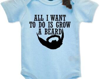All I Want To Do Is Grow A Beard Babygrow Vest Kids Gang Funny Hipster Born EBG1