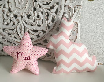 2 cushions cuddly rabbit and pink star, customizable name, baby room decor