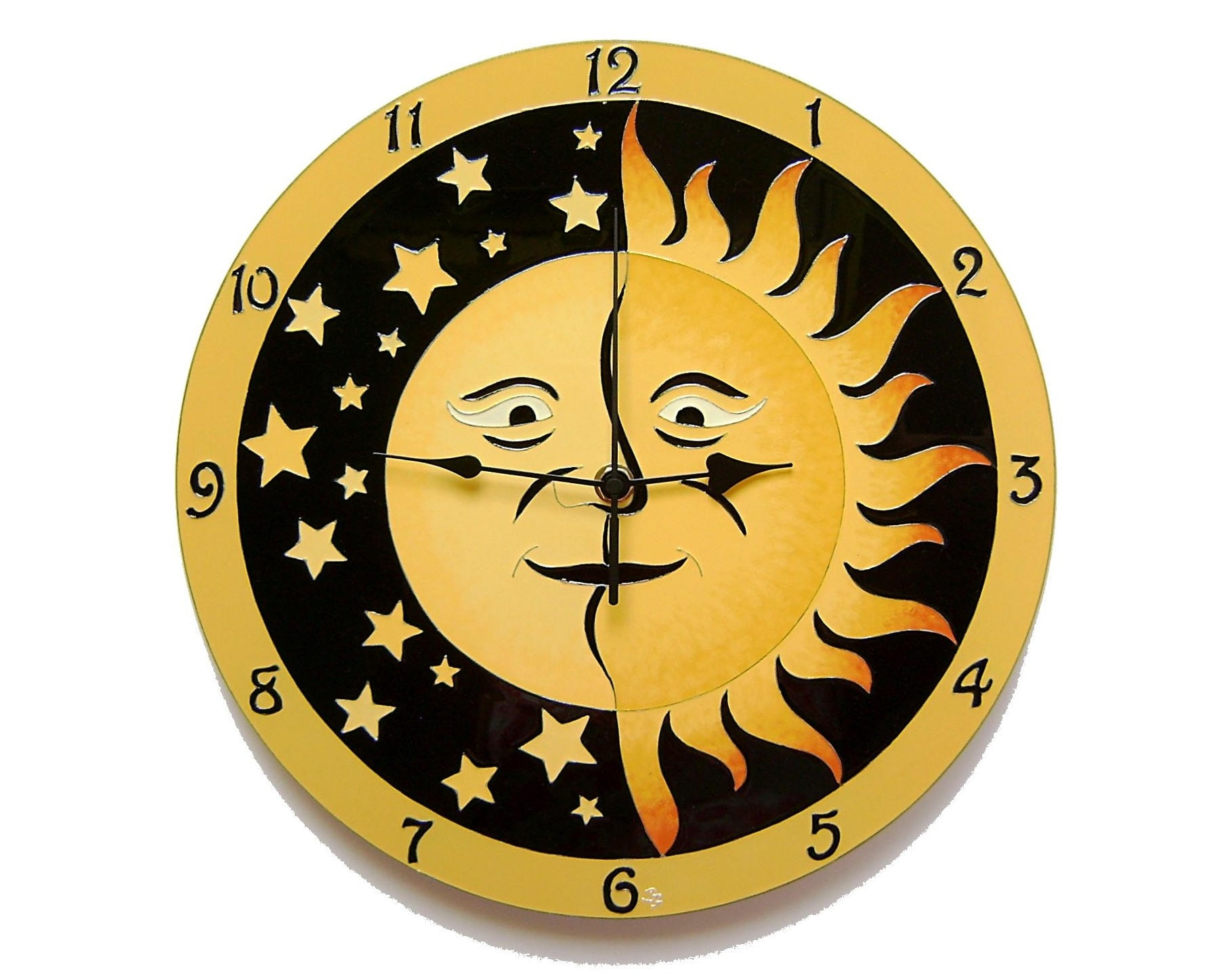 Sun and Moon Large Wall Clock Hand Painted Yellow and Black