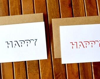 Happy --------- Card - 2 card pack - 6.5 x 5