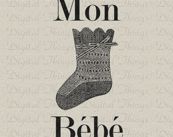 French Script Bebe Baby Decor Baby Art Nursery Decor Art Printable Digital Download for Iron on Transfer Pillows Fabric DT1215