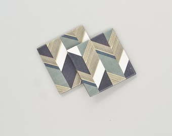 Herringbone Pattern Coasters Geometric Neutral Colors Ceramic Tile Drink Coasters Gift for Men