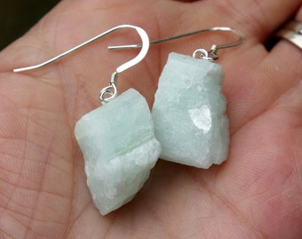 Aquamarine Earrings - Raw Rough Aquamarine - March Birthstone Earrings - Gemstone Earrings - Sterling Silver - Glacier Stone - Two Feathers
