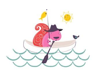 nursery art print - Fishing print for nursery - Nautical nursery art, Child's nautical Room, Baby decor, playroom decor, Toddler Room
