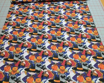 Halloween Figures with Silvers specks Cotton Fabric