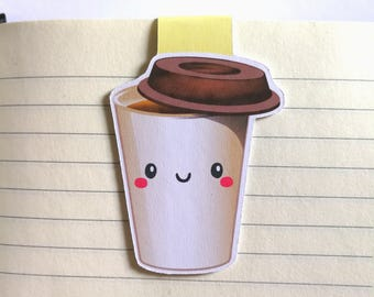 Coffee || Magnetic Bookmark -book lover gift - planner accessories - page clip - bookish bookmark