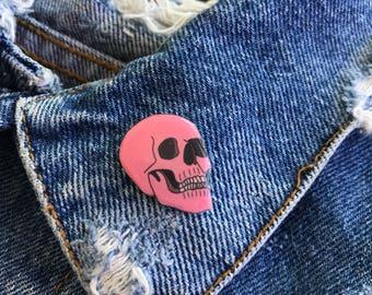 Handmade Pink Skull Lapel Pin