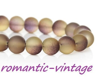 20 gray smoke matte glass beads / purple 8mm