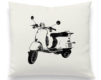 Vintage Distressed Vespa Motor Scooter Pillow Cover, Throw Pillow, Couch Cushion, Music, Cool, Fun