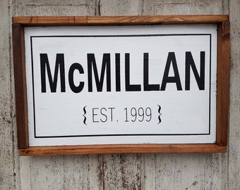 Family Name Sign, Last Name personalized Family Name Signs, Family Established Sign, Farmhouse Sign, last name established, framed wood sign
