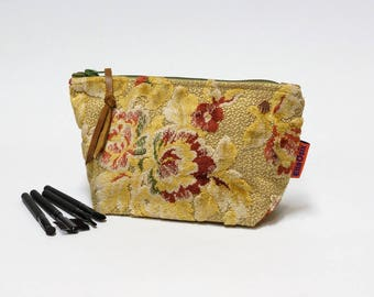 Velvet Cosmetic Bag - Makeup Bag - Zipper Pouch - Toiletry Pouch - Handmade from vintage fabric and canvas by EllaOsix
