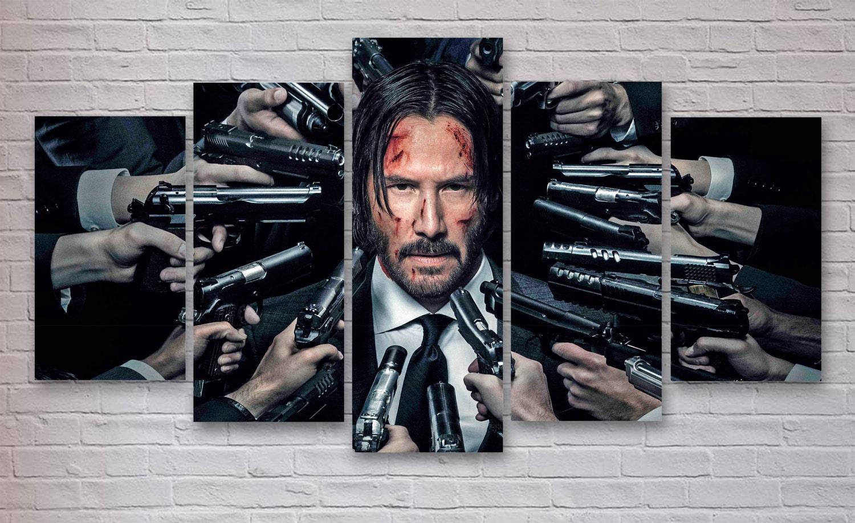 John Wick Keanu Reeves Movie 5 Panel Piece Canvas Wall