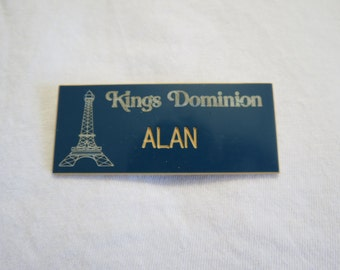 "Paramount Pictures Cedar Fair Kings Dominion Amusement Theme Park Employee Name Tag ""Alan"" Eiffel Tower"