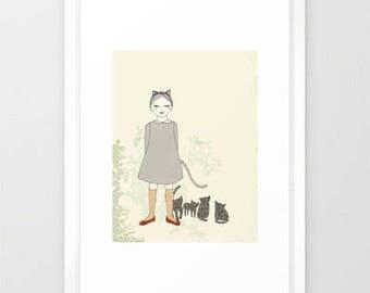 Cat Girl Deluxe Edition Print of original drawing